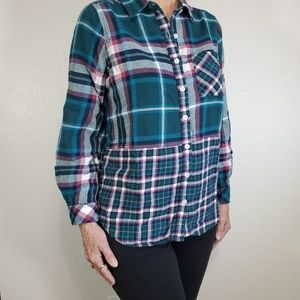 My Style flannel shirt, mixed plaids, Sz M.